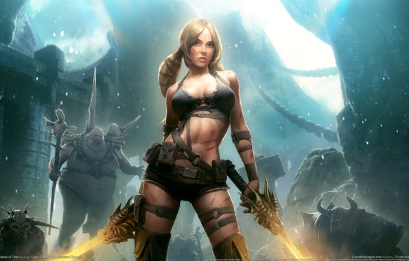 Picture girl, night, castle, the moon, monsters, girl, Moon, swords, night, monsters, castle, game wallpapers, swords, ...