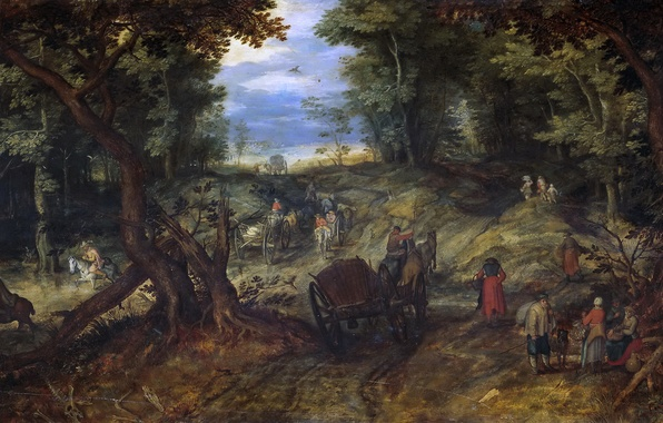 Picture trees, landscape, people, picture, Jan Brueghel the elder, Forest Road with the Carts and Horsemen