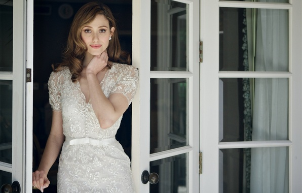 Picture makeup, dress, actress, brunette, hairstyle, singer, is, in white, photoshoot, Emmy Rossum, Emmy Rossum, Shameless, …