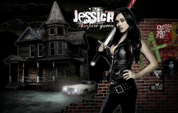 Picture sword, jessica alba, art, vampire, vampire queen