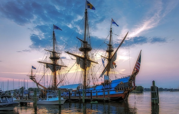 Picture SHIP, ROPES, The SKY, CLOUDS, PIER, PIERCE, MAST, SAILS, ROPE, FLAGS