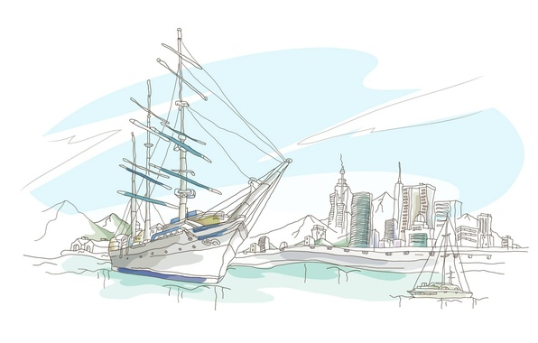 Picture sea, the sky, mountains, the city, figure, ship, home, vector, yacht, promenade