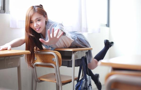 Picture joy, tongue, schoolgirl, knee, Parta, skirt, Oriental girl