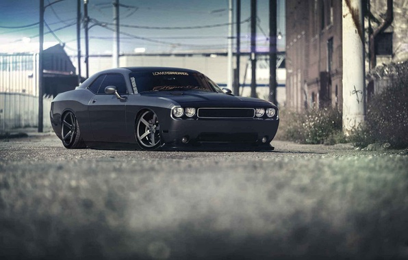 Picture Dodge, Challenger, black, front, Stance