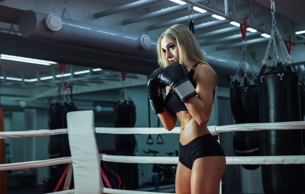 Photo wallpaper training, female, boxing
