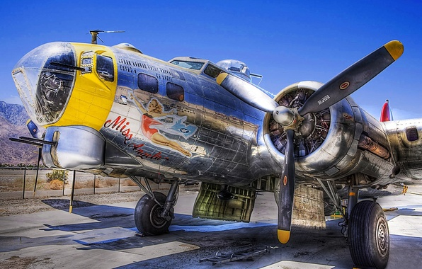 Picture retro, the plane, Parking, fortress, bomber, American, Boeing, heavy, B-17, four-engine, Flying Fortress, metal, flying, …