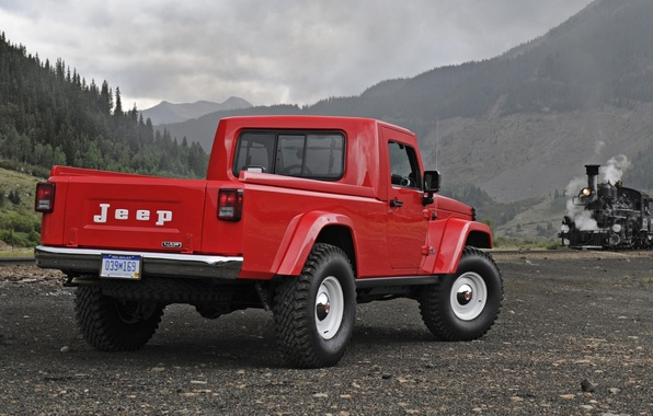Picture Concept, the sky, red, The concept, Jeep, rear view, pickup, Jeep, J-12, paravoz.mountains