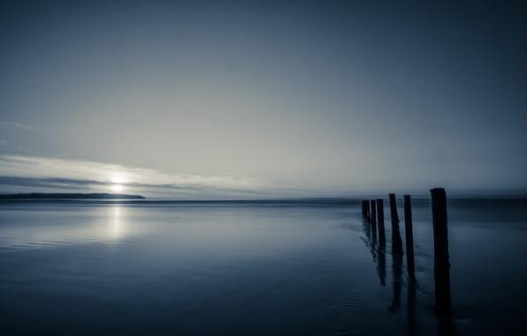 Picture sea, the sky, night