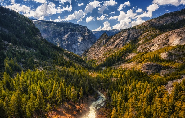 Picture the sky, clouds, trees, mountains, stones, rocks, for, CA, gorge, USA, river, Tuolumne Meadows