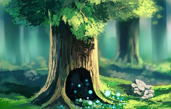 Picture forest, grass, trees, flowers, stones, magic, spring, lights, crown