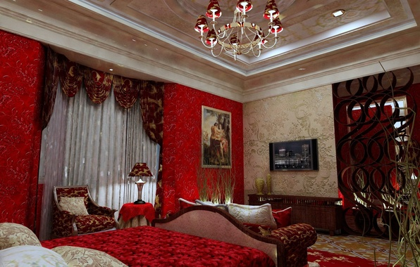 Picture bed, picture, chair, TV, chandelier, curtains, bedroom, interior, lamp.