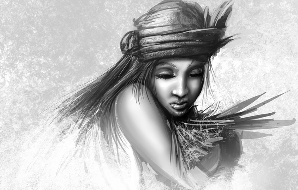 Picture girl, face, figure, art, black and white, closed eyes, monochrome, headdress