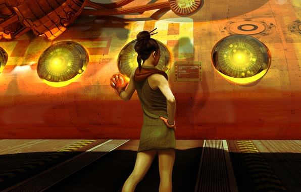 Picture girl, spaceship, starship, Col Price, re-fuel at the spaceport