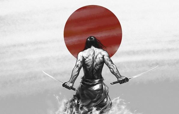 Picture the sun, power, Wallpaper, figure, katana, Japan, warrior, Samurai, japan, muscle, katana, sun, katana, samurai, …
