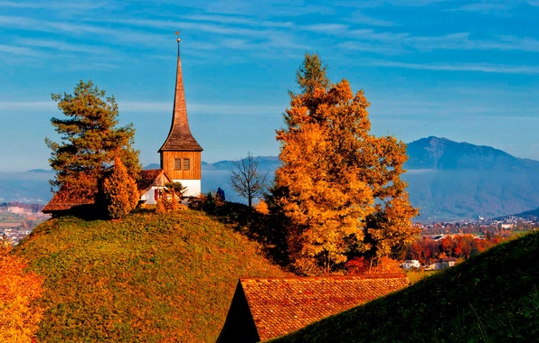Picture autumn, trees, mountains, home, Switzerland, valley