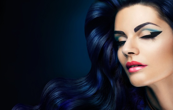 Picture girl, eyelashes, style, hair, makeup, closed eyes, wavy