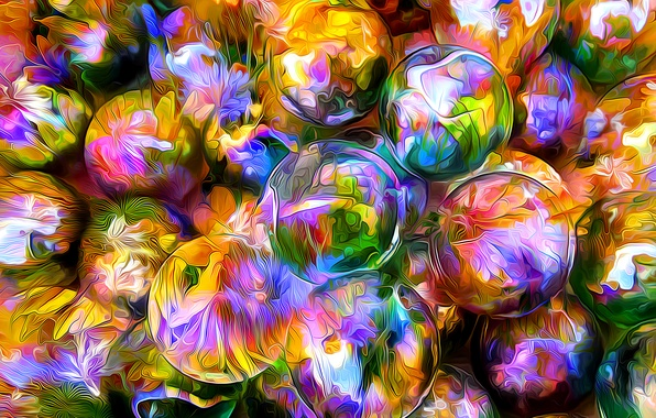 Picture line, flowers, reflection, rendering, ball, petals