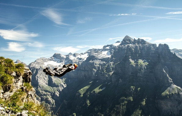Picture the sky, clouds, mountains, rocks, camera, parachute, container, helmet, pilot, extreme sports, wingsuit, base jumping, …