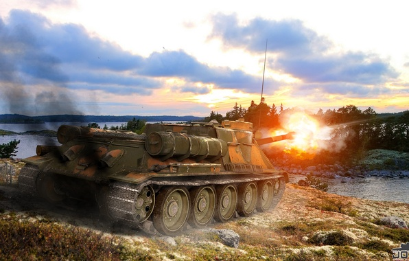 Picture USSR, Tank, World of tanks, World of Tanks, PT-ACS, WOT, SU 100