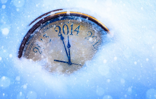 Picture snow, holiday, arrows, watch, New Year, figures, dial, year, New Year, 2014