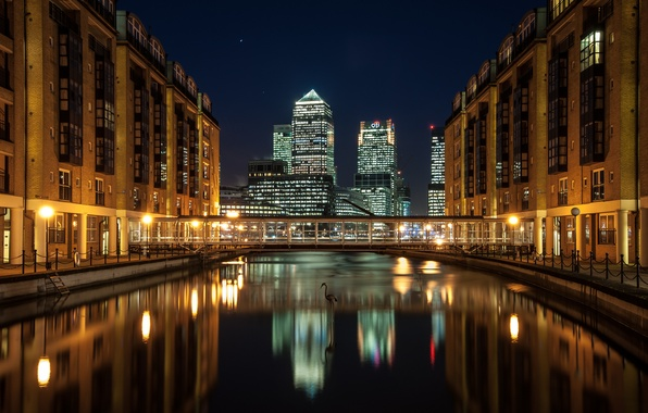 Picture night, bridge, the city, river, England, London, home, skyscrapers, London, England, Docklands