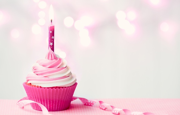 Picture birthday, candle, cream, Happy Birthday, pink, cupcake, cupcake, candle