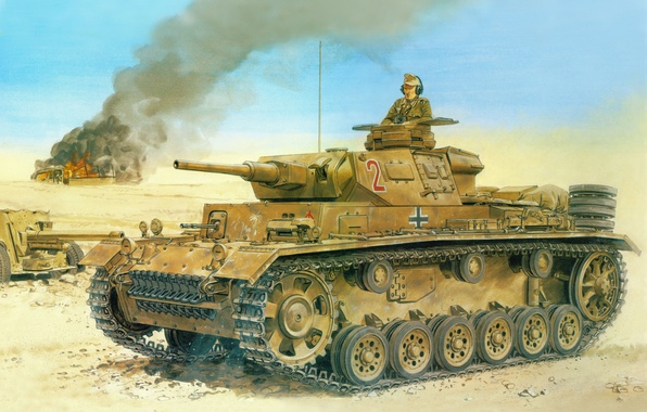Picture the wreckage, desert, Figure, tank, gun, the Germans, The Wehrmacht, Panzerkampfwagen III, Pz Kpfw III