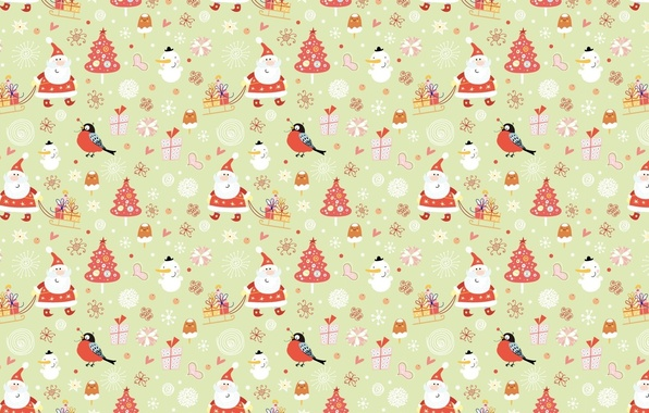 Picture winter, holiday, New year, sleigh, Santa Claus, bullfinch