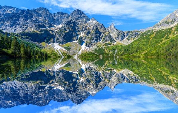 Picture the sky, the sun, clouds, trees, lake, reflection, stones, Poland, Tatra Mountains, Sea Eye lake, …