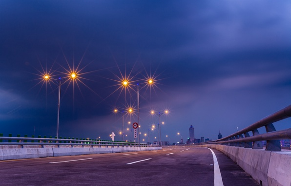Picture road, the sky, night, bridge, the city, lighting, highway, lights, China, blue