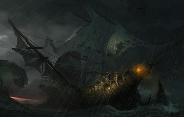 Picture light, storm, wave, ship, art, sails