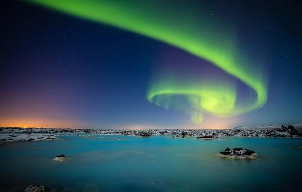 Picture the sky, stars, night, lake, Aurora, Northern lights