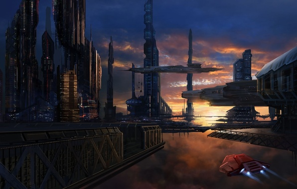 Picture sunset, the city, future, ships, art, in the sky, David Lee