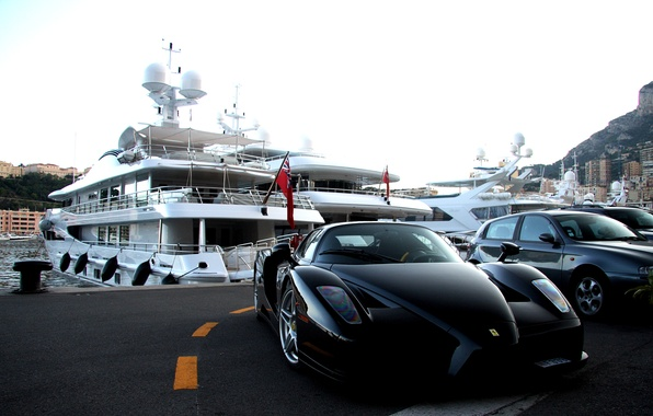 Picture mountains, the city, yacht, black, Parking, ferrari, enzo