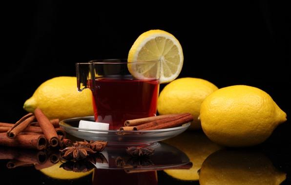 Picture reflection, table, tea, mug, sugar, drink, cinnamon, lemons, saucer, star anise