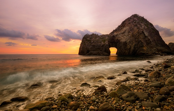 Picture sea, beach, the sky, water, clouds, landscape, sunset, flowers, nature, stones, the ocean, colors, beach, ...