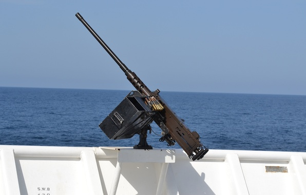 Photo wallpaper sea, machine gun, Browning, easel, Board, M2HB