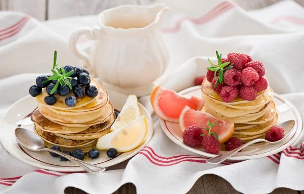 Picture berries, raspberry, lemon, food, blueberries, plates, fruit, citrus, grapefruit, pancakes, spoon, pancakes, Anna Verdina