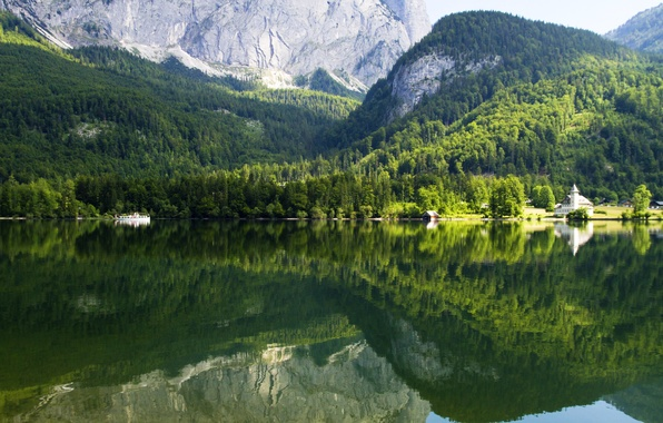 Picture forest, trees, mountains, lake, reflection, rocks, Austria, Gruner