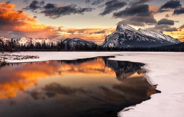 Picture winter, snow, landscape, sunset, mountains, nature, lake, reflection
