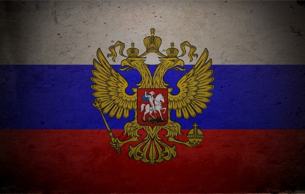 Picture flag, Russia, coat of arms, tricolor, Texture, double-headed eagle