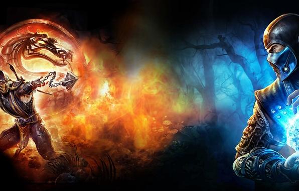 Picture game, scorpion, mortal kombat, sub zero