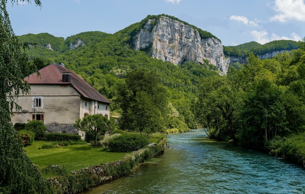 Picture greens, trees, house, river, rocks, lawn, France, the bushes, Mouthier-Haute-Pierre