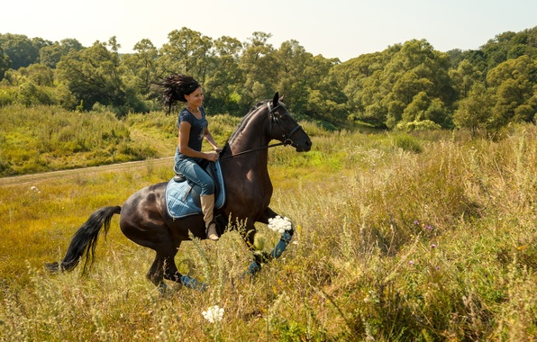 Picture summer, grass, girl, the sun, trees, nature, glade, horse, jeans, boots, Mike, brunette, walk, rider, …