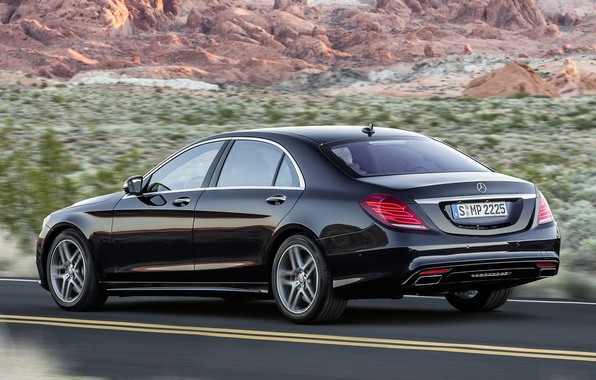 Picture road, auto, Mercedes-Benz, back, BlueTec, S 350