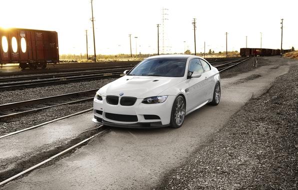Picture white, sunset, bmw, BMW, railroad, white, e92, sunset.railway