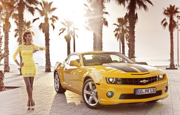 Picture girl, palm trees, Wallpaper, 2012, Chevrolet, camaro, chevrolet, wallpapers, Camaro, Girl Cars