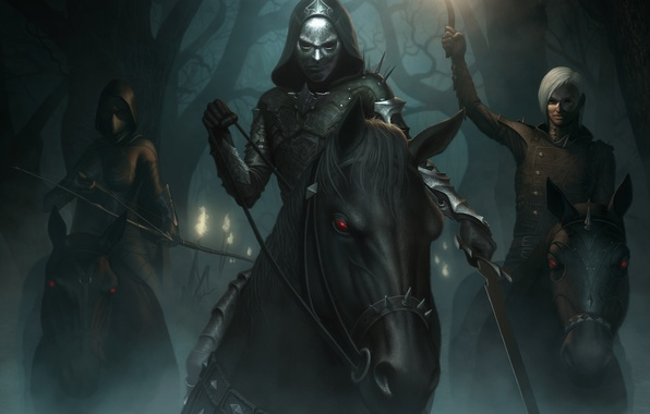 Picture forest, night, fog, horse, sword, Archer, torch, mask