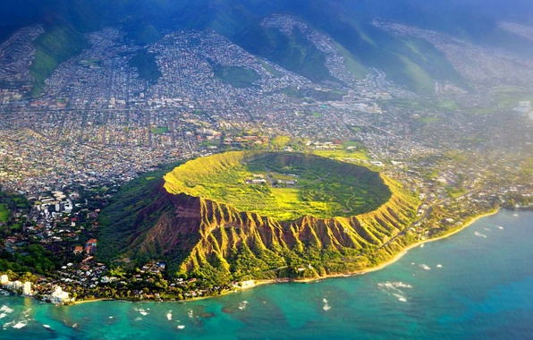 Picture sea, Hawaii, USA, crater, the island of Oahu