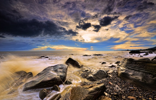 Picture sea, wave, clouds, sunset, squirt, stones, shore